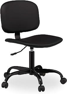 Relaxdays Silla Oficina con Ruedas, Altura Ajustable, Escritorio, Despacho, Trabajo, Cuero Sintético, 88 x 60 cm, Negro