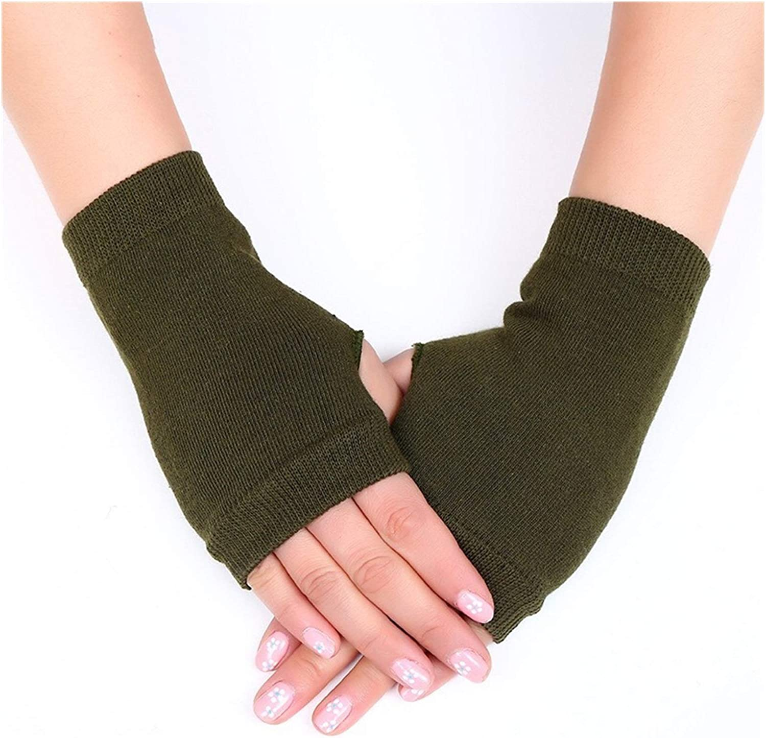 Jgzwlkj Gloves Winter Knitted Arm Fingerless Warm Gloves Solid Color Fingerless Soft Gloves for Women Girl Keep Hands Warm (Color : Army Green, Gloves Size : Free Size)