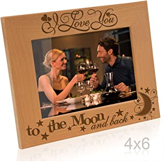 Kate Posh - I love you to the moon and back - Engraved Solid Wood Picture Frame (4x6 Horizontal)