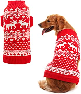 Orangexcel Classic Red Christmas Dog Knitted Sweater with Cute Reindeer for Puppy Pet