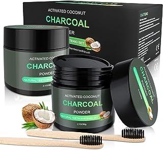 WOSTOO aktivt kol pulver tandblekning 2 x 80 g med 2 bambukoltandborstar naturliga tänder vitening presentbox blekning nat...
