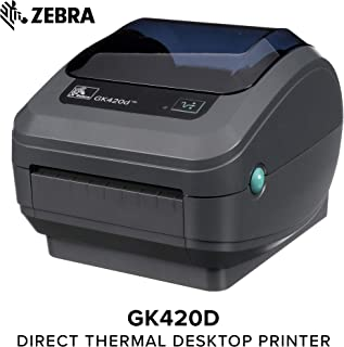 Zebra - GX420t Thermal Transfer Desktop Printer for Labels, Receipts, Barcodes, Tags, and Wrist Bands - Print Width of 4 in - USB, Serial, and Ethernet Port Connectivity