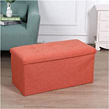 Large folding ottoman pouffe seat foot stool storage box black,Storage Ottoman Footstool Bed Rectangular Ottoman for Livin...
