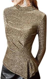 Women's Top Glitter Design Mock NeckxRuched T-Shirt