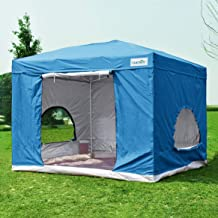 Quictent 10x10 ft Standing Room Tent Pop up Canopy Instant Set up Waterproof with Sides & Groundsheet -2 Colors (Light Blue)