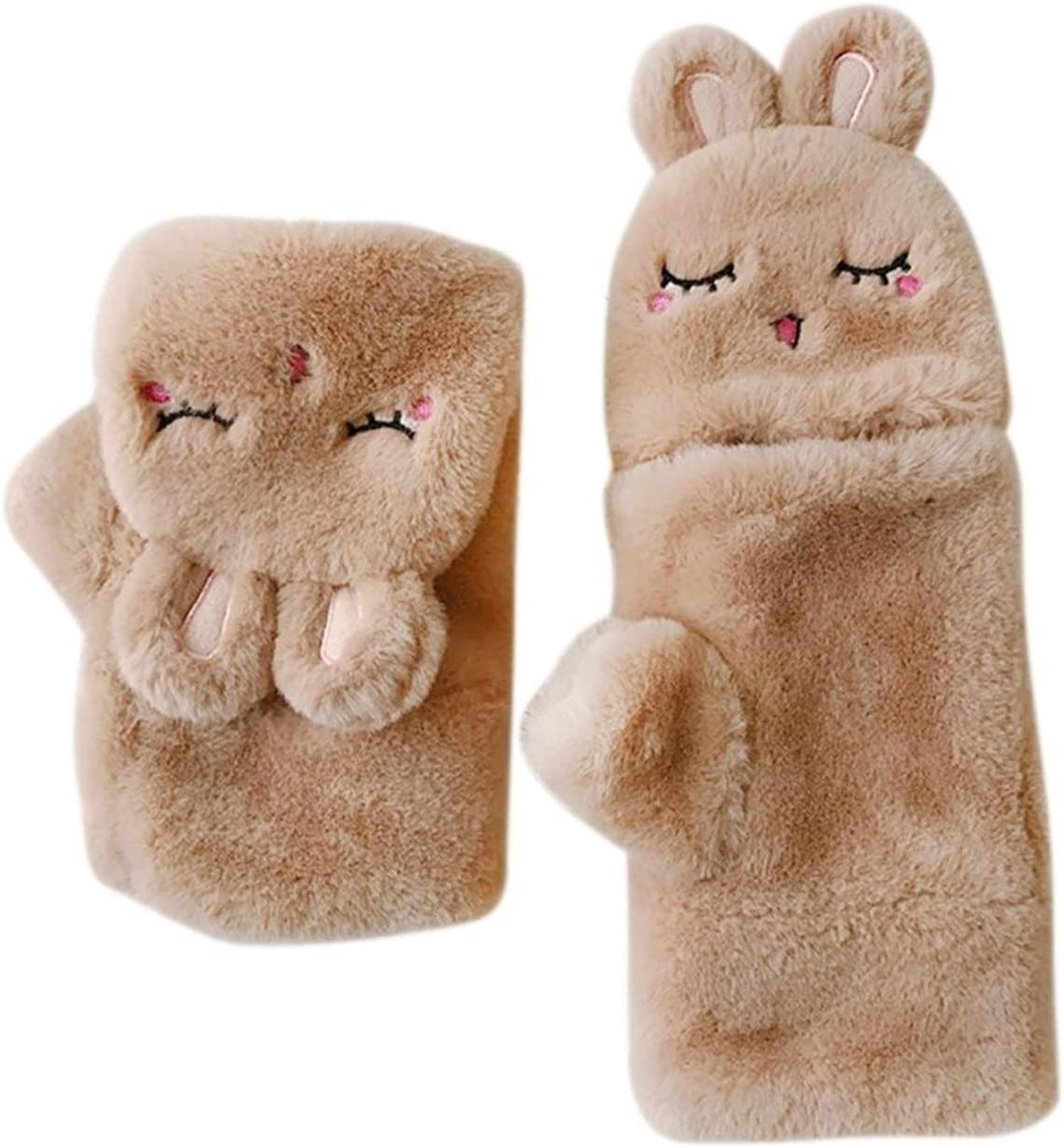 FASGION New Rabbit Plush Gloves Women Girls Cute Lovely Animal Warm Flip Over Thickening Warm Winter Gloves (Color : Brown, Size : One Size)