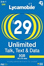 Lycamobile Prepaid Plans SIM Card Triple Cut Unlimited NATL Talk & Text to US and 60+ Countries (29$Plan, 30days)