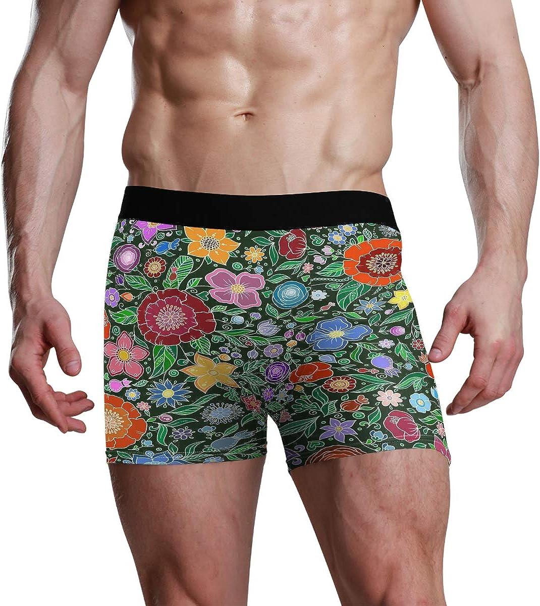 HangWang Mens Boxer Briefs Underwear Seamless Vector Pattern with Leaves and Flowers Trunks Underwear Short Leg Boys