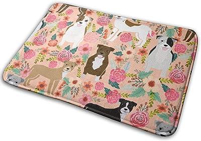 """Staffordshire Terrier Dog Staffy Floral Design - Peach_16213 Doormat Entrance Mat Floor Mat Rug Indoor/Outdoor/Front Door/Bathroom Mats Rubber Non Slip 23.6"""" X 15.8"""""""