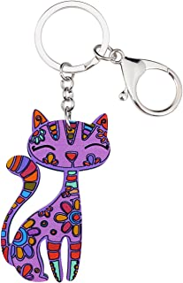 BONSNY Patterned Acrylic Cat Key Chains For Women Car Purse Bag Rings Pendant Charms