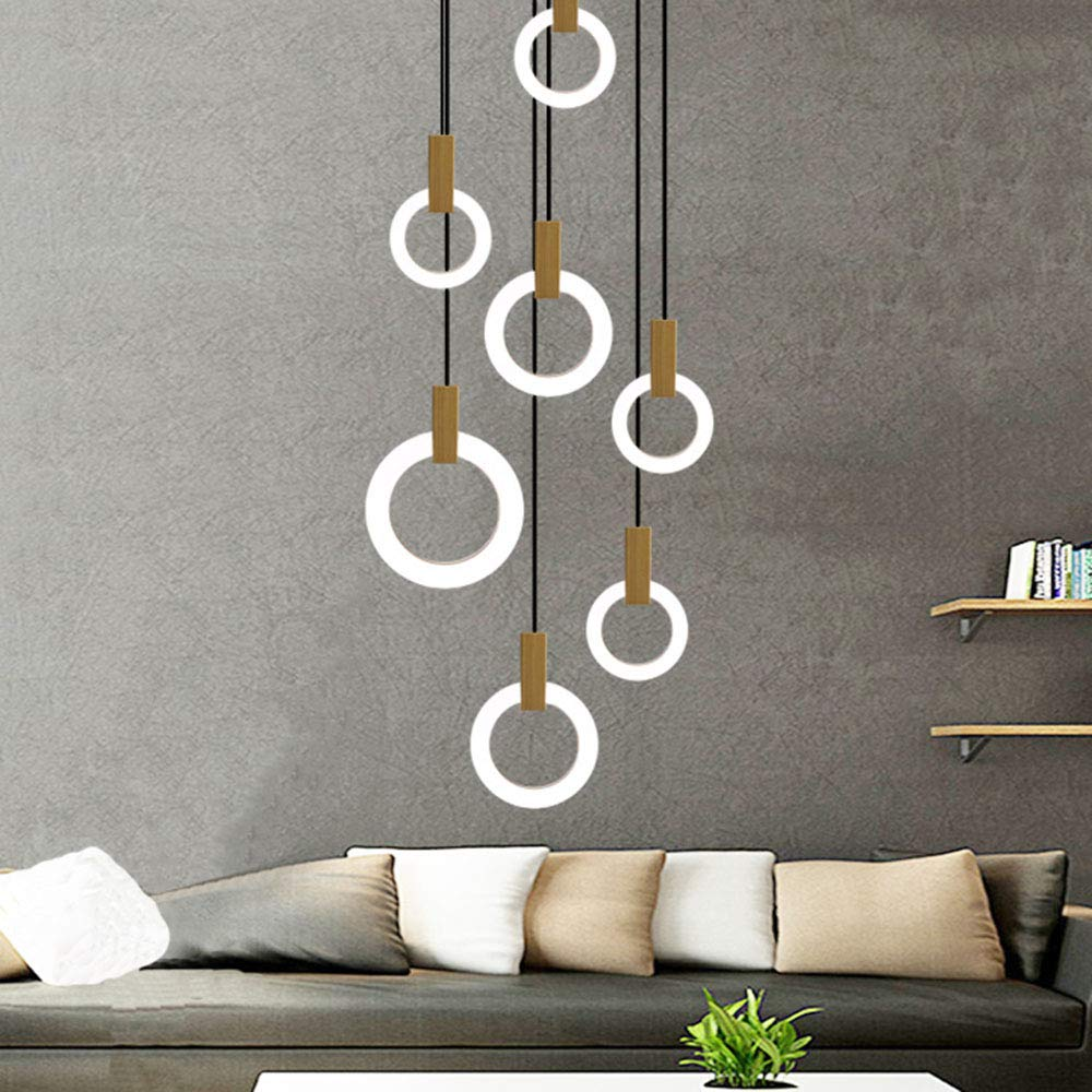 Moderno LED redondo colgante luz escalera rotativa espiral suspensión luz 100W 7-Ring araña madera acrílico colgante lámparas lámparas de escalera comedor sala de estar 3000K luz blanca cálida: Amazon.es: Iluminación