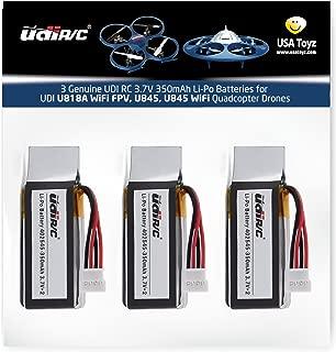 3 Genuine UDI RC 3.7V 350mAh Rechargeable Li-Po Batteries for USA Toyz UDI U818A WiFi FPV Quadcopter Drone (NOT Compatible with U818A or U818A HD or HD+)