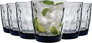 Bormioli Rocco Diamant Dimpled Double Old Fashioned Tumblers - Ocean Blue - 390 ml - Packung mit 12