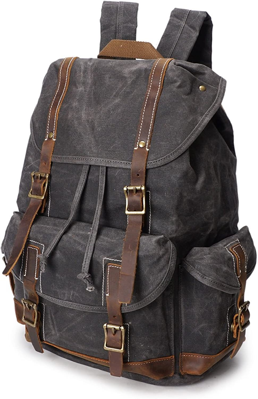 goldt1 Men's Backpack Crazy Horse Oil Wax Canvas Bag Retro Waterproof Travel Outdoor Backpack,Water Resistant College School Computer Bag for Women & Men (color   Chrome, Size   M)