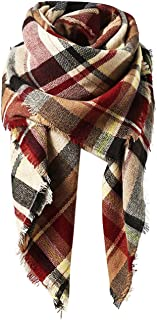 Trendy Women's Cozy Warm Winter Fall Blanket Scarf Stylish Soft Chunky Checked Giant Scarves Shawl Cape