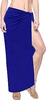 LA LEELA Women's Plus Size Sarong Swimsuit Cover Up Beach Wrap Skirt Solid Plain