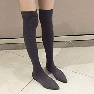 None/Brand Over-the-knee Women's Boots Autumn And Winter Boots Fashion Knit Socks Boots Pointed Flat Shoes Female Thigh Hi...