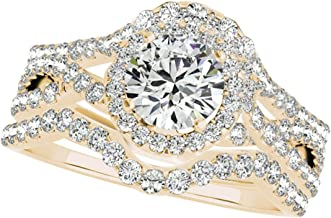 3/4 Carat Halo Diamond Engagement Bridal Set Trio Ring In 10K Solid Rose, White & Yellow Gold