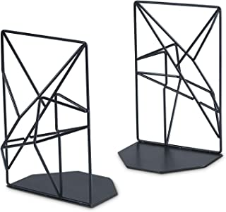 RooLee Bookends Black Decorative Metal Book Ends Supports For Shelves Unique Geometric Design