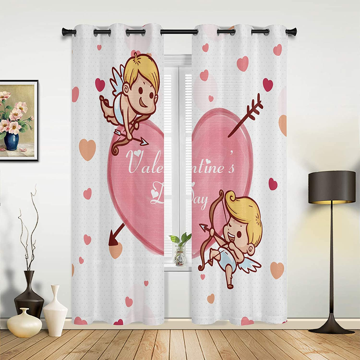 Window Sheer Max 56% OFF Curtains for Bedroom Valentine's low-pricing Day Cu Room Living