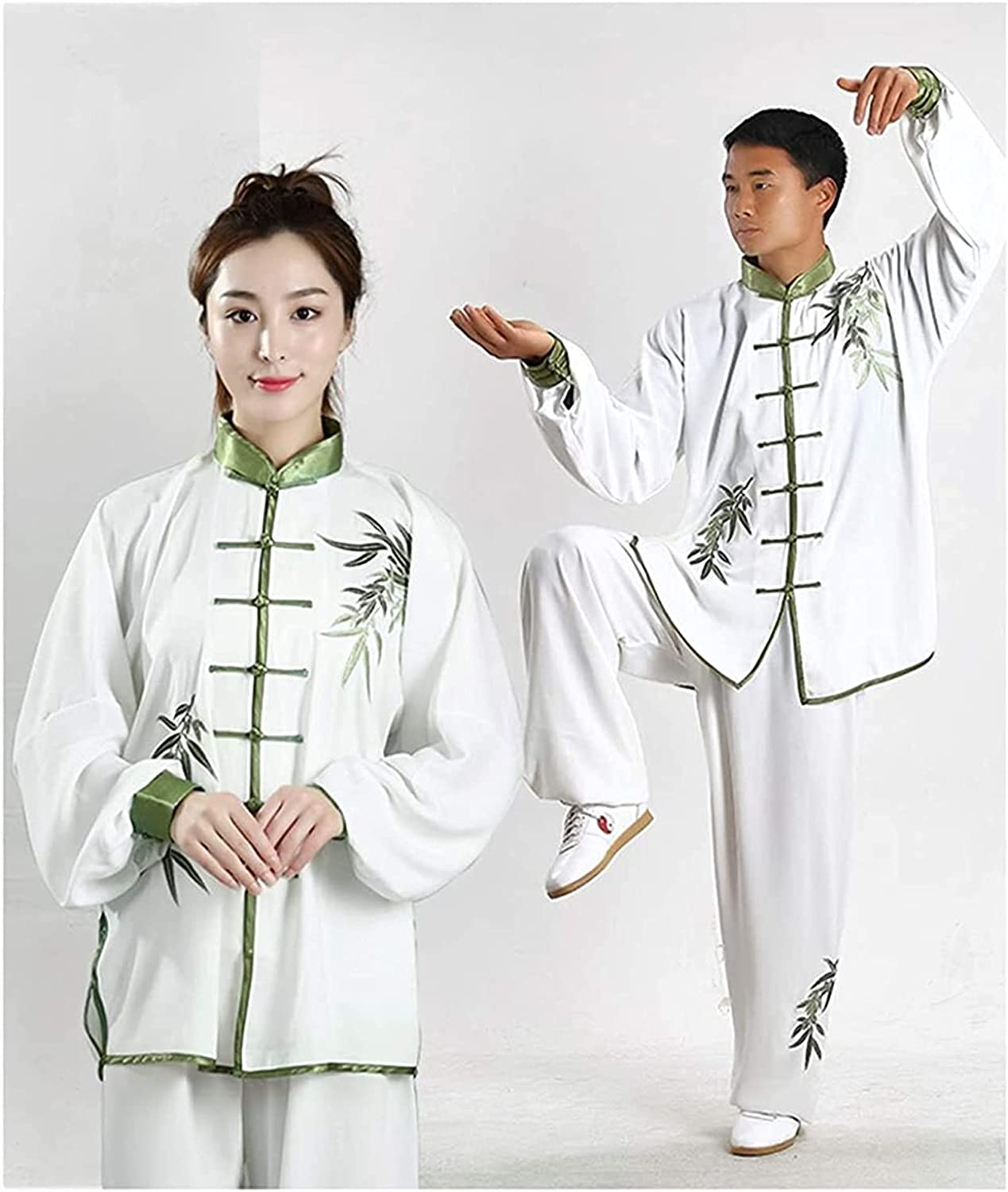 HELOU Tai Chi Uniform-Hand Embroidery Unisex Cotton Chinese Kung Fu artial Arts Wear (Color : Green, Size : XS-Small)