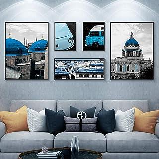 Ouqian Marco del Collage Living Room Decoration Pintura nórdica Creativa del Paisaje del Fondo del sofá Pintura Combinació...