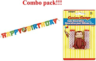 Curious George Cake Topper & Birthday Candle Set and Happy Birthday Banner (combo pack)