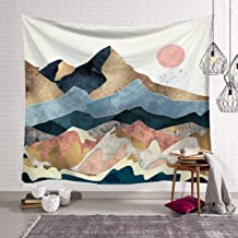 QCWN Sunset Mountain Tapestry,The Mountains Surround The River Silhouette Watercolor Surface Abstract Design with Sunset Décor Wall Hanging Tapestry for Bedroom Living Room Dorm.Multi 59x51Inch