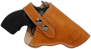 Barsony New Saddle Tan Leather OWB Holster for Snub Nose 2