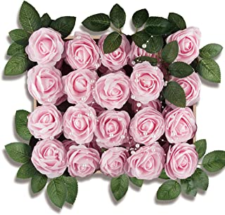 Meiliy 40pcs Artificial Flowers Peony Light Pink Rose Heads Real Looking Foam Peonies Bulk w/Stem for DIY Wedding Bouquets Boutonnieres Corsages Centerpieces Wreath Supplies Cake Flower Decorations …