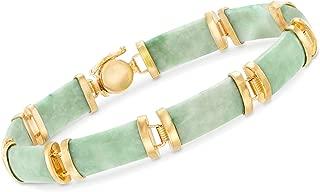 Ross-Simons Green Jade Bar Bracelet in 18kt Gold Over Sterling