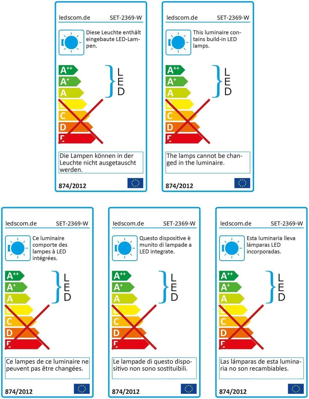 ledscom.de LED Boden-Aufbau-Leuchte Bunda 1-Beam für außen, befahrbar, kalt-weiß, 5er Set 13er-set