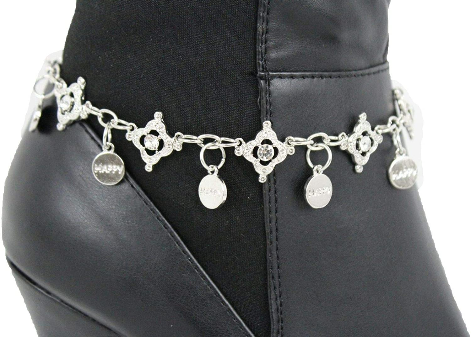 Women Large discharge sale Boot Bracelet Silver Metal Chain Happy Anklet Beads Cheap Bling