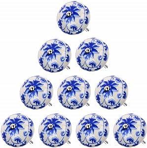 "abcGoodefg Painted Ceramic Knobs, 1.6""(41mm) Diameter, White and Blue Floral Decorative Vintage Drawer Knobs, 10-Pack"