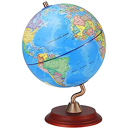 World Globes With Wooden Stand For Kids Size 8 Educational World Globe With Stand Adults Desk Geographic Globes Discovery World Globe Educational Toy Geography Learning Toy Office Products