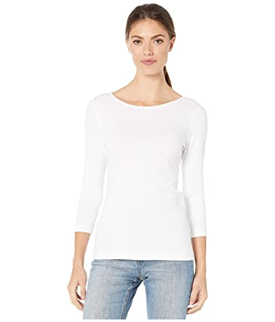 Lilla P 1X1 3/4 Sleeve Boat Neck Tee (White) Women