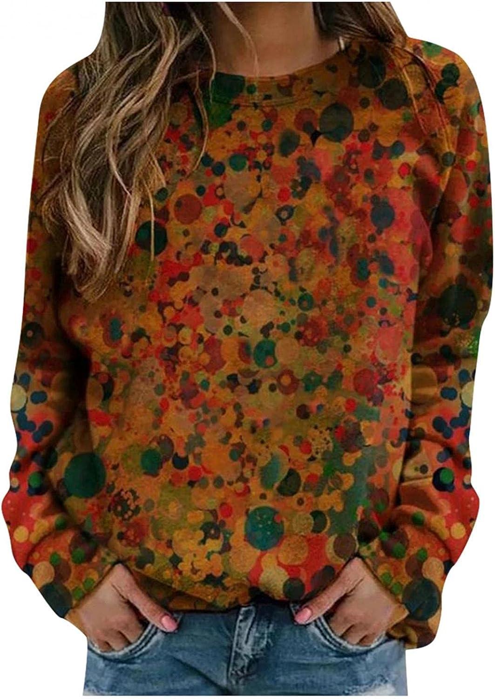 Long Sleeve Shirts for Women,Women's Flower Print Sweatshirts Thermal Crewneck Long Sleeve T-Shirts Loose Pullover