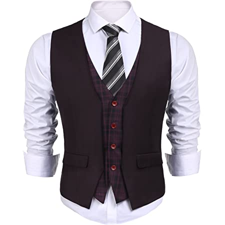 Coofandy Men's Waistcoat Casual Slim Fit Checked Waistcoat Vest for Wedding/Business/Party