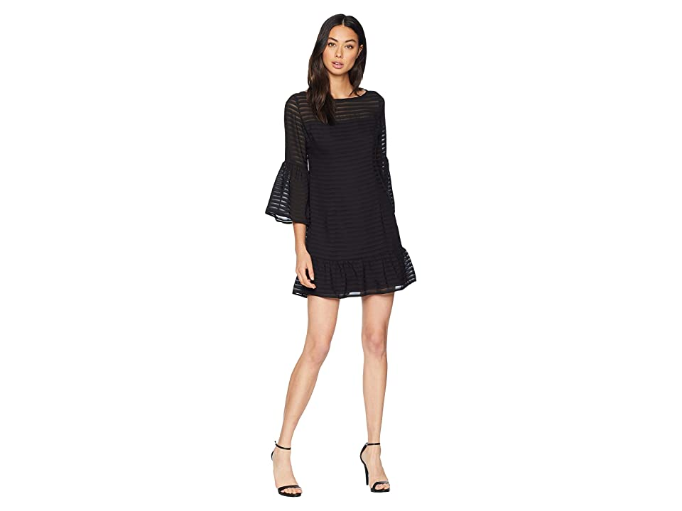 BB Dakota Night Vision Bell Sleeve Dress (Black) Women