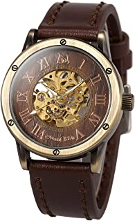 ManChDa Mens Wrist Watch Fashion Leather Band Special Burlywood dial Automatic Mechanical Wrist Watch for Men + Gift Box
