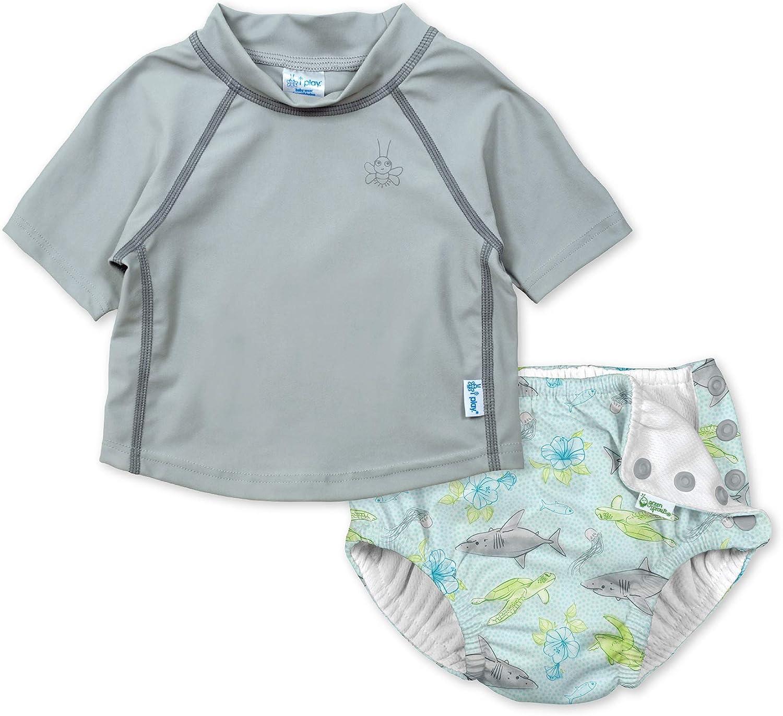 i play by green sprouts Baby-Girls Cap Sleeve Rashguard Shirt UPF 50+