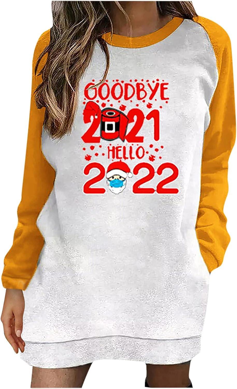 Goodbye Brand new 2021 Hello 2022 Reservation Christmas Women Cas Print Letter Shirts