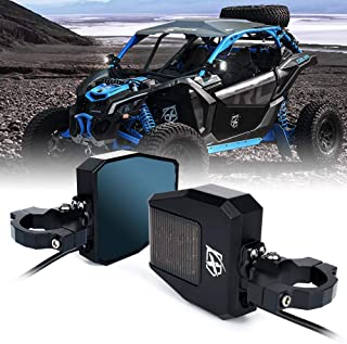 Xprite Offroad Side Rear View Mirrors Fit All UTV with 1.5-2.5 Inch Roll Bar Cage, Blue Anti-Glare Mirrors and Smoke Lens LED Spot Light for UTV ATV Can am Maverick X3 Polaris RZR XP 1000 Yamaha