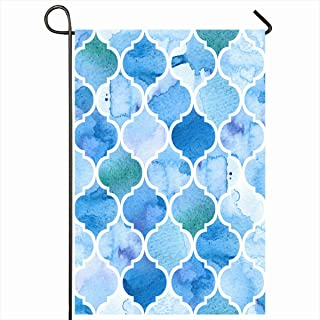 Ahawoso Outdoor Garden Flags 12x18 Inch Watercolour Blue Pattern Moroccan Abstract Watercolor Color Water Geometric Turquoise Paint Vertical Double Sided Home Decorative House Yard Sign