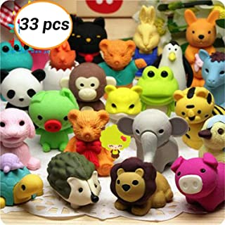 WedFeir 33pcs Animal Erasers, Non-Toxic Pencil Erasers, Removable Assembly Zoo Animal Erasers Puzzle Erasers for Party Favors, Fun Games Prizes,Kids Puzzle Toys.
