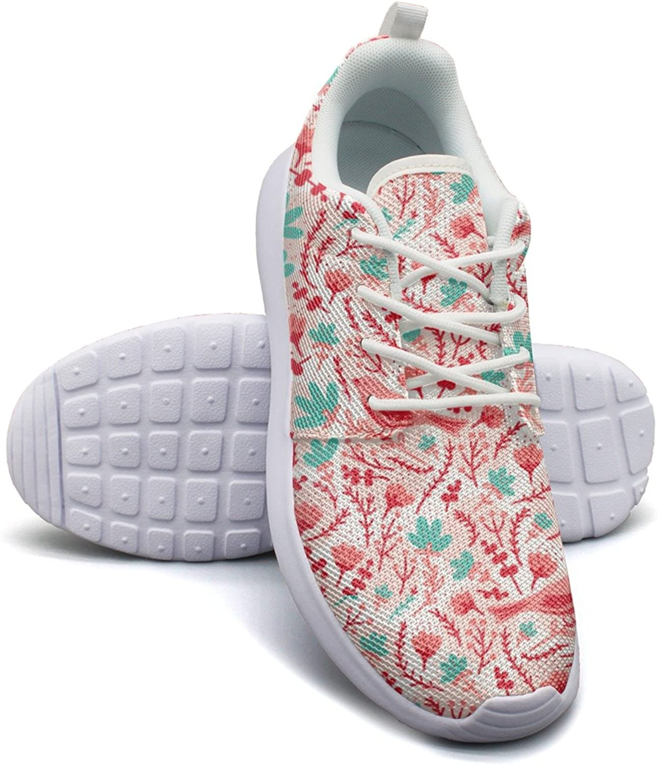 Eoyles gy Birds and Flowers Womens Slip Resistant Lightweight Running Sports shoes