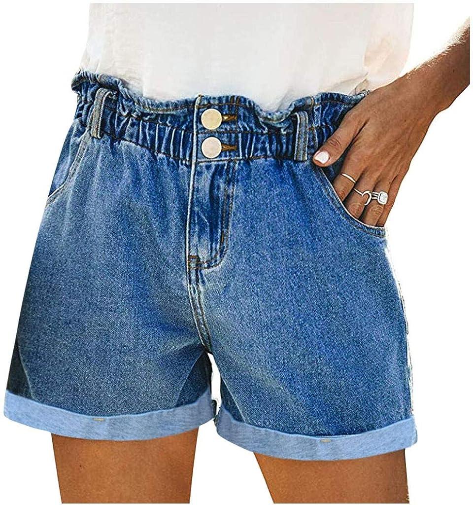 Fashion Women Light Solid Casual Washing Button Pocket Jeans Shorts Pants(Dark Blue,M)