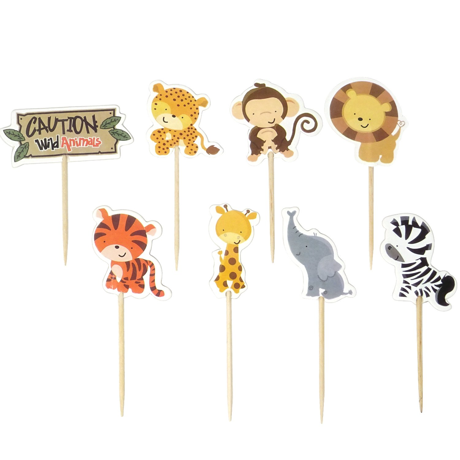 Honbay 48PCS Double Super special price In stock Sided Zoo Animal Dessert Cake C Muffin Theme