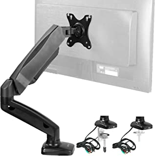 VIVO Single Monitor Height Adjustable Counterbalance Pneumatic Desk Mount Stand with USB and Audio Ports | Universal Fits Screens up to 27 inches (STAND-V001OU)