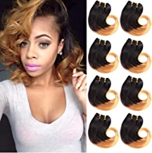 B-Fashion Unprocessed Virgin Brazilian Ombre Human Hair Bundles Cheap Two Tone Body Wave Bundles 8inch Short Curly Remy Hair Weaves Extensions Color 1B/27 30g/Piece 8Pcs/Package Total 240g